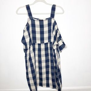 Topshop Petite Gingham Cold Shoulder Dress